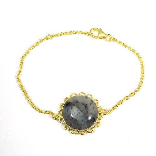 925 Silver Dendritic Opal Gold Plated Bezel Set Designer Bracelet