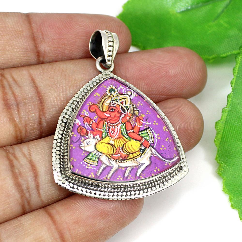 925 Silver Hindu Deity Ganesha Ride On a Rat Hand Painting Pendant