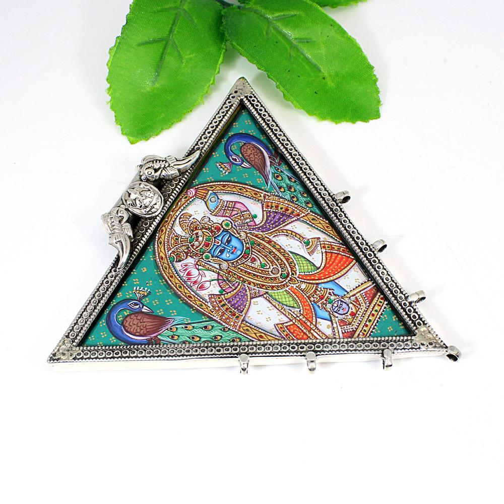 925 Silver Hindu Deity God Shreenath Ji Handcrafted Painted Pendant