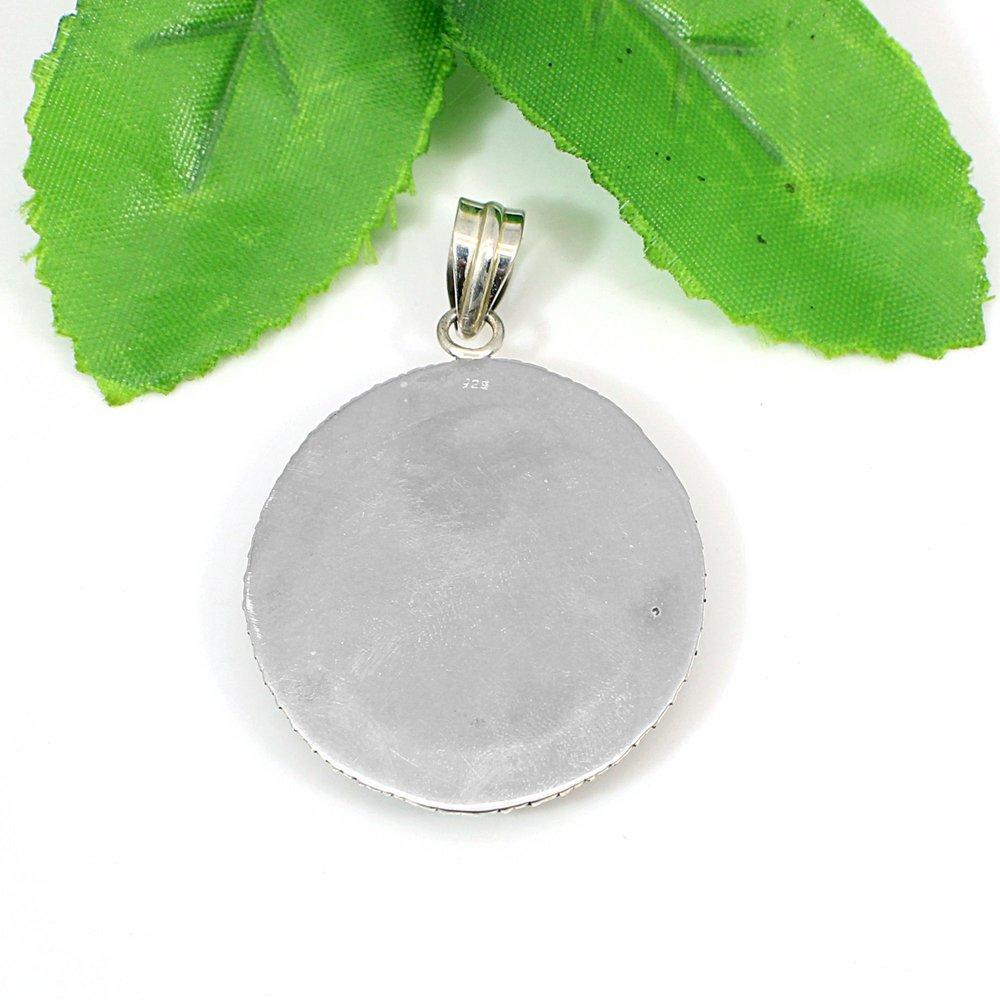 925 Silver Hindu Deity God Vishnu Handmade Miniature Painting Pendant