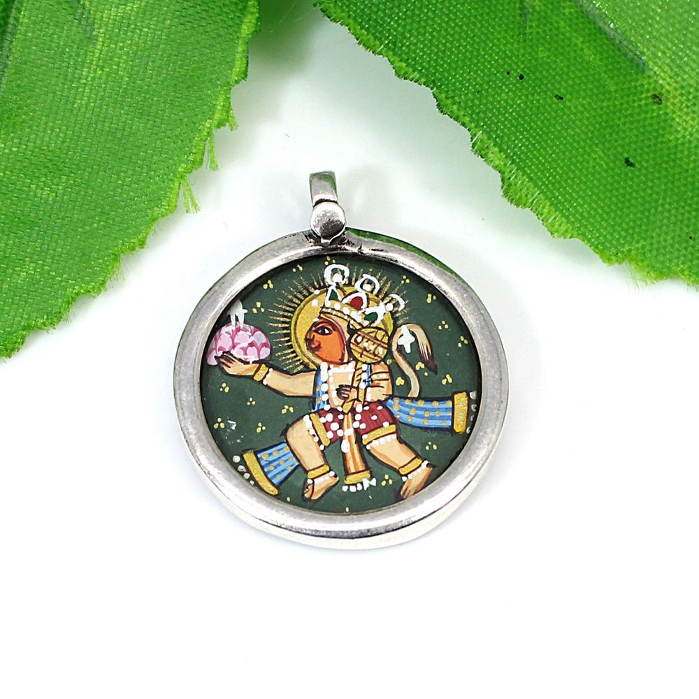 925 Silver Hindu God Flying Veer Hanuman Hand Painted Pendant