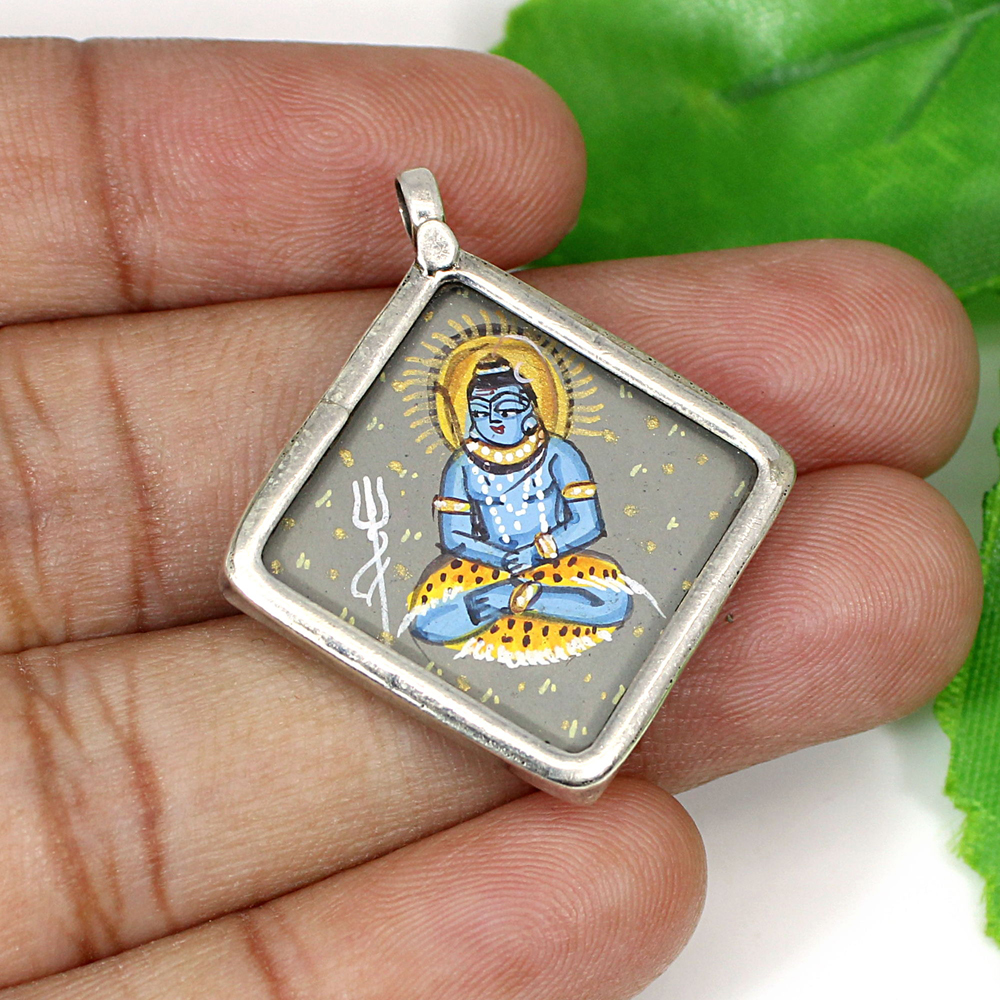 925 Silver Hindu Lord Shiva Hand Painted Casual Wear Simple Pendant