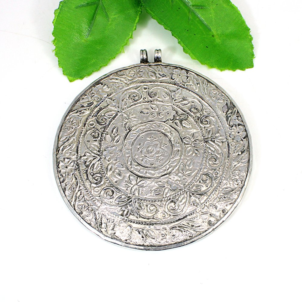 925 Silver Indian Miniature Art Shreenath Ji Hand Painted Pendant