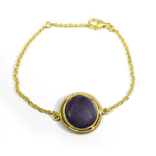 "925 Silver Purpurite Jasper Gold Plated Bezel Set 7.5"" Chain Bracelet"