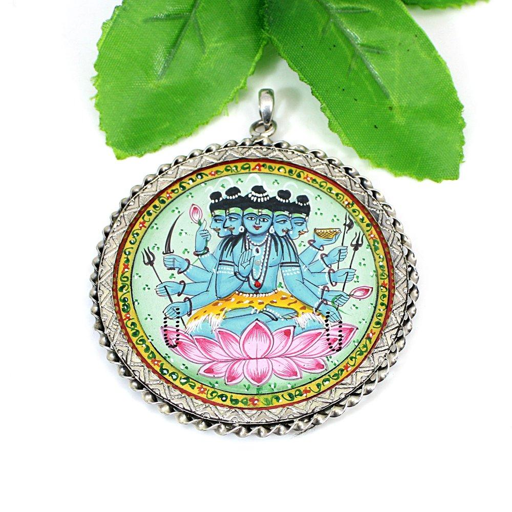 925 Solid Silver Maha Mrityunjaya Shiva Miniature Hand Painted Pendant