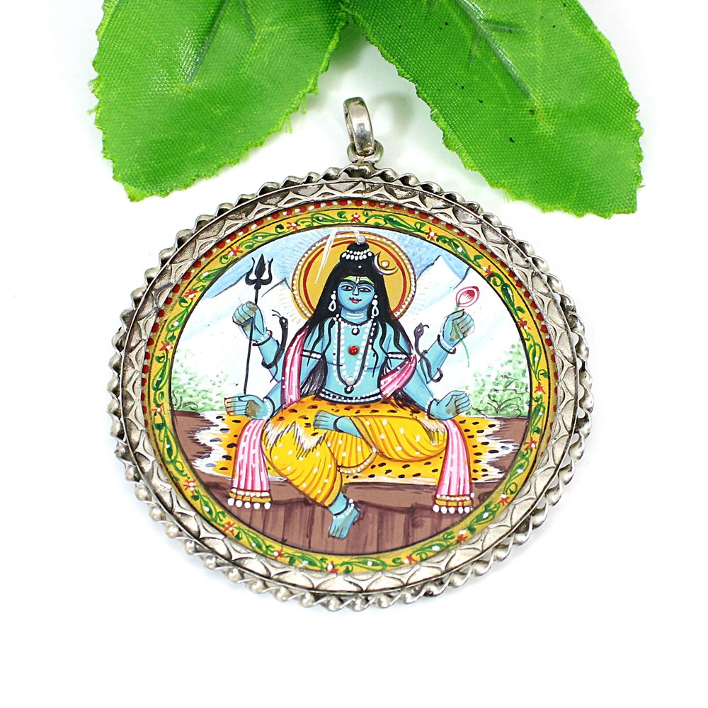 925 Solid Silver Miniature Art Hindu God Lord Shiva Hand Painted Pendant