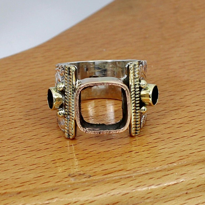 925 Sterling Silver 10x10mm Cushion 4mm Round 2 Stones Three Tone Designer Ring Collet