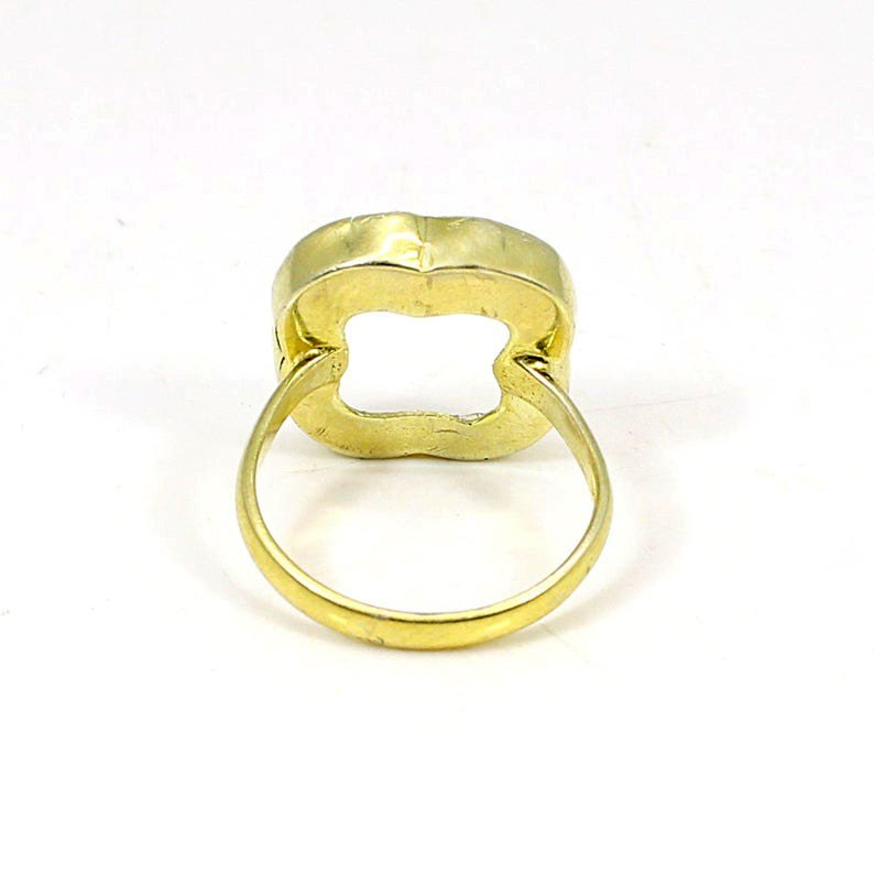 925 Sterling Silver 15x15mm Clover Flat Stone Blank Bezel Cup Ring Collet