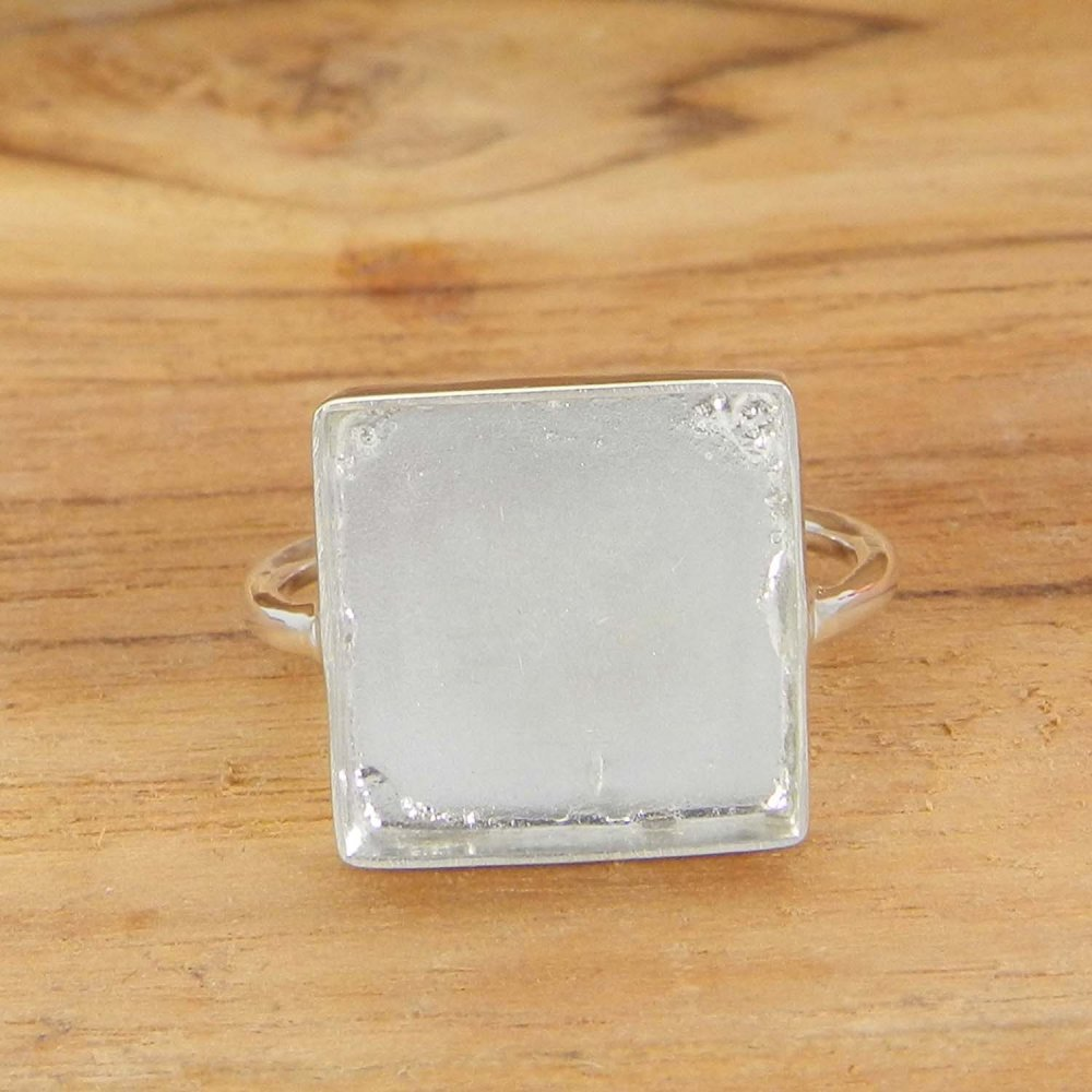 925 Sterling Silver 3x3mm to 25x25mm Square Stone Blank Close Back Bezel Cup Ring Collet Metal Casting For Stone Setting