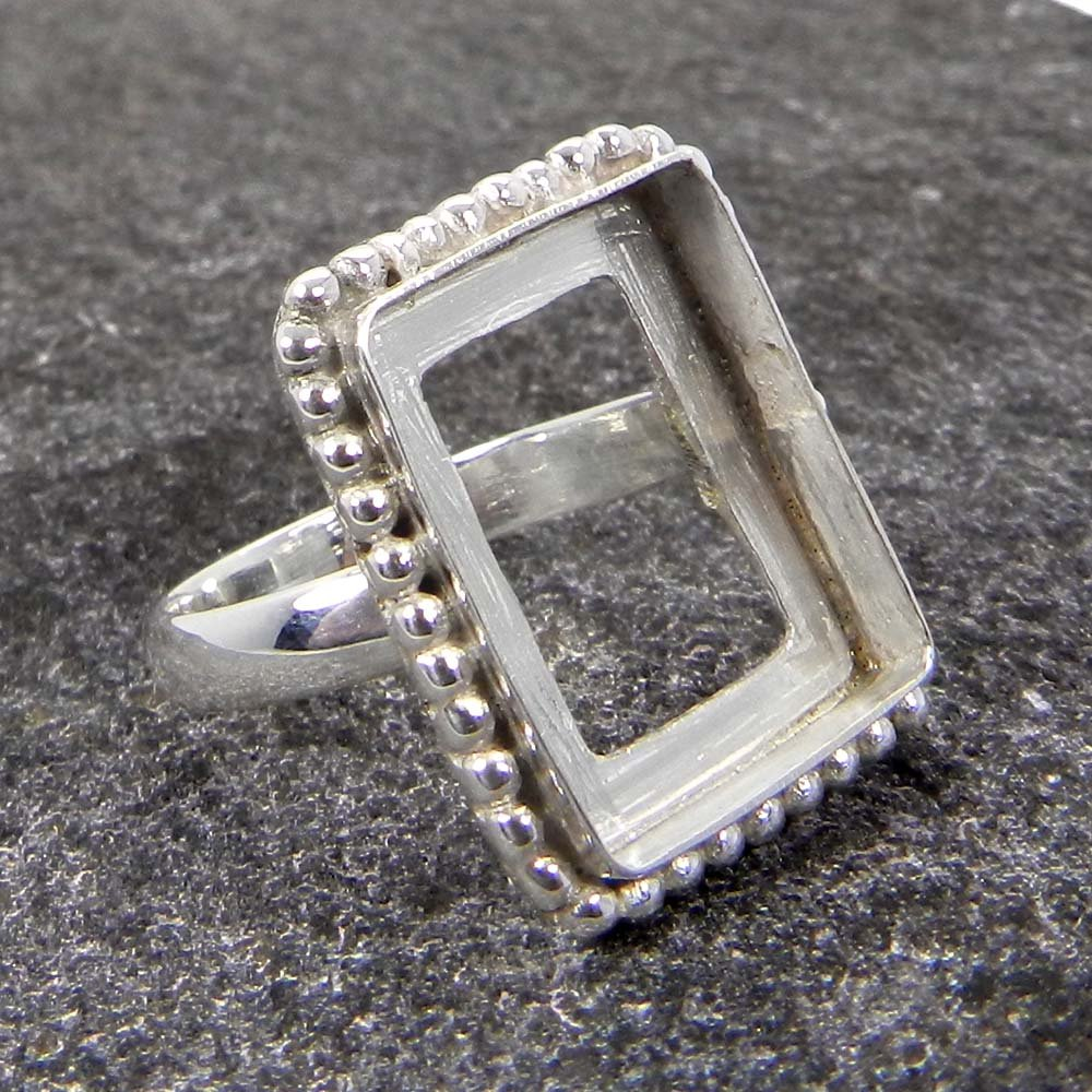 925 Sterling Silver 6x4mm to 18x13mm Rectangle Cushion Blank Bezel Cup Designer Ring Collet Metal Casting For Stone Setting