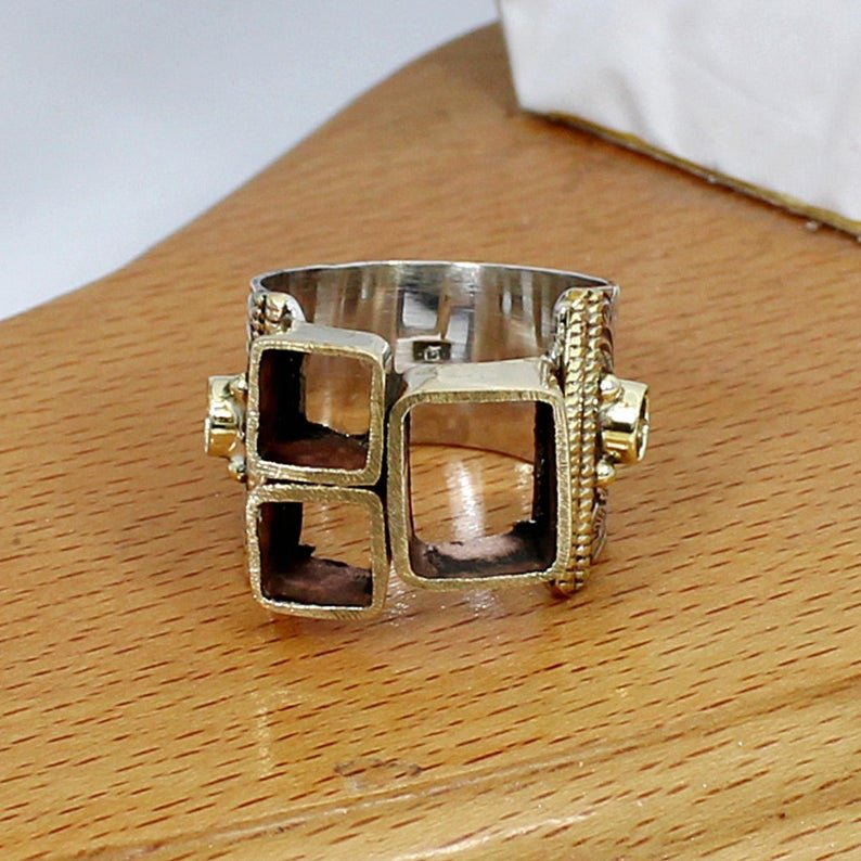 925 Sterling Silver 6x6mm Square 2 Stone 10x8mm Octagon 4mm Round 2 Stone Two Tone Ring Collet