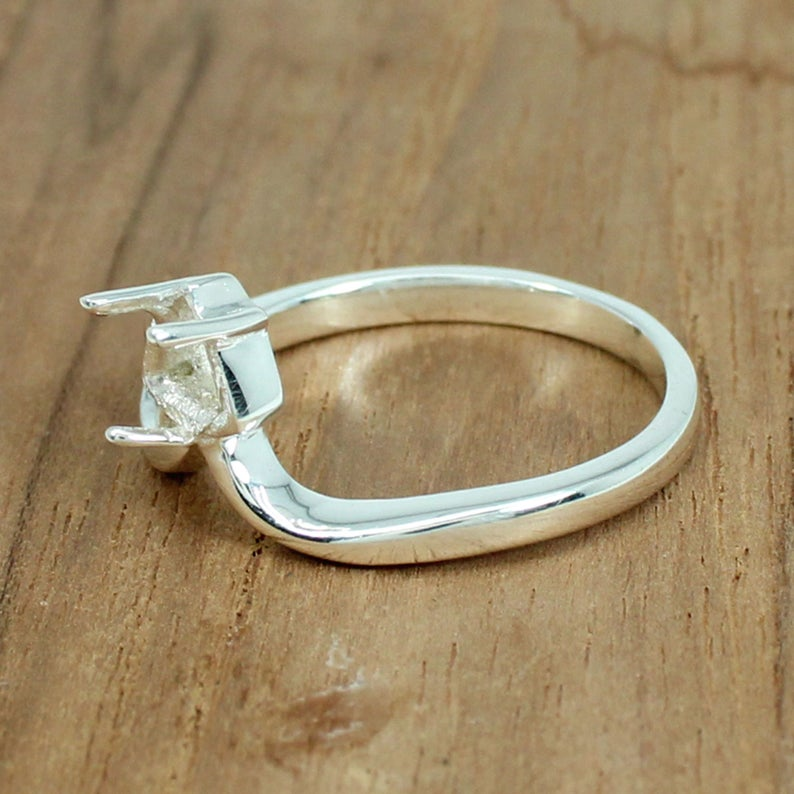 925 Sterling Silver 6x6mm Trillion Half Vee Shank Prong Cup Pre Notched Ring Setting