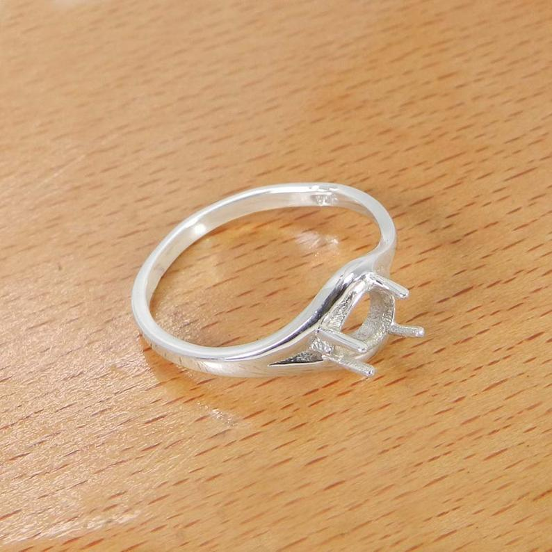 925 Sterling Silver 7x5mm Pear Stone Pre Notched Prong Setting Ring Component