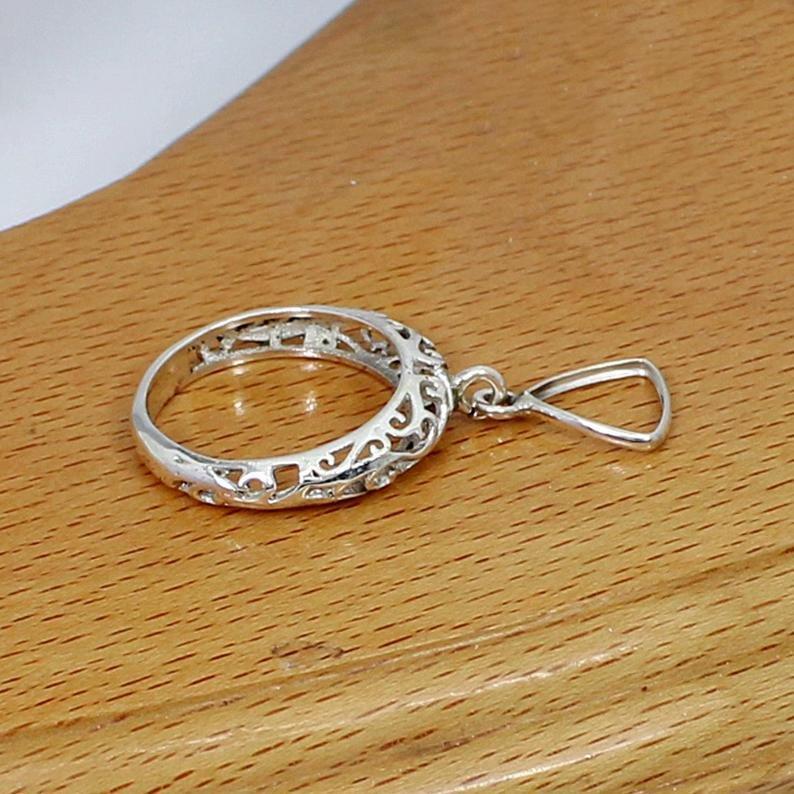 925 Sterling Silver 9x9mm Trillion Stone Blank Bezel Filigree Designer Band Ring Setting