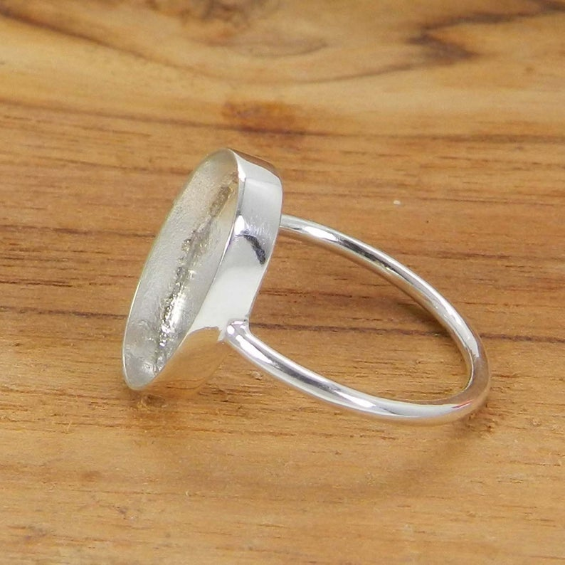 925 Sterling Silver Blank Ring Collet 6x4mm To 18x13mm Oval Stone Close Back Bezel Cup For Ring Making Metal Casting For Ring Setting