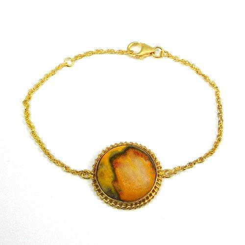 925 Sterling Silver Bumble Bee Jasper Gold Plated Bezel Set Bracelet
