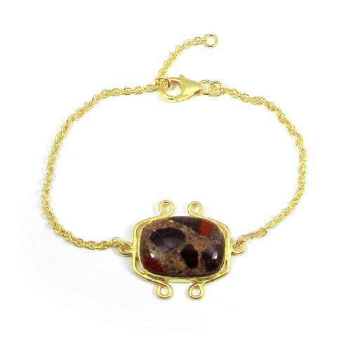 925 Sterling Silver Conglomerate Gold Plated Bezel Set Chain Bracelet