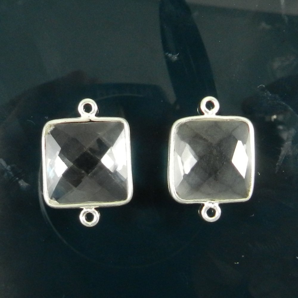 925 Sterling Silver Crystal Quartz 21x14mm Square Briolette Checker Double Loop Connector
