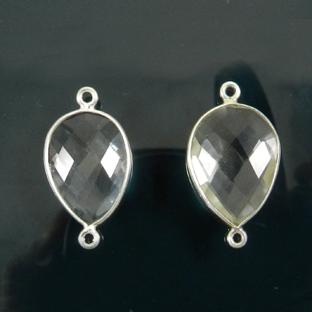 925 Sterling Silver Crystal Quartz 25x13mm Pear Briolette Checker Double Loop Connector
