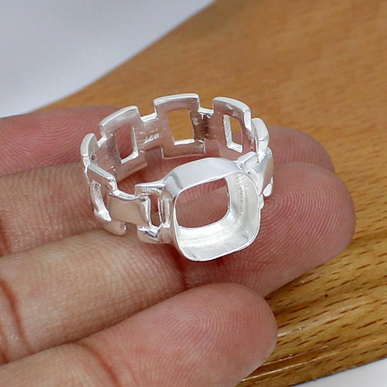 925 Sterling Silver Cushion 10x10mm Stone Blank Bezel Link Chain Band Ring Collet