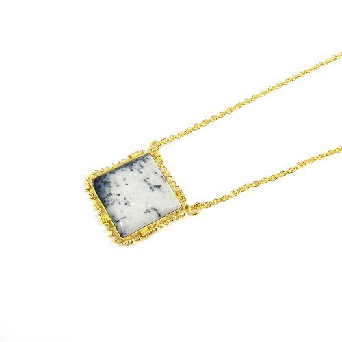 """925 Sterling Silver Dendritic Opal Gold Plated 19"""" Chain Necklace"""