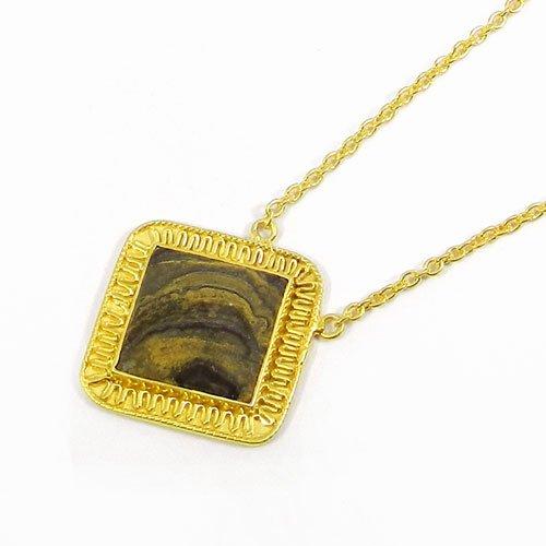 "925 Sterling Silver Desert Jasper Gold Plated 19"" Long Chain Necklace"