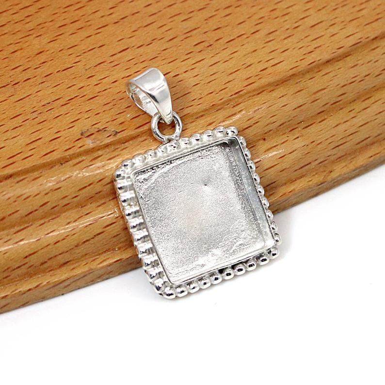 925 Sterling Silver Designer Pendant Collet 3x3mm To 20x20mm Square Stone Close Back Bezel Cup For Pendant Making Metal Casting For Setting