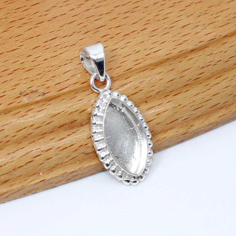 925 Sterling Silver Designer Pendant Collet 6x3mm To 20x10mm Marquise Gemstone Bezel Cup For Pendant Making Metal Casting For Setting