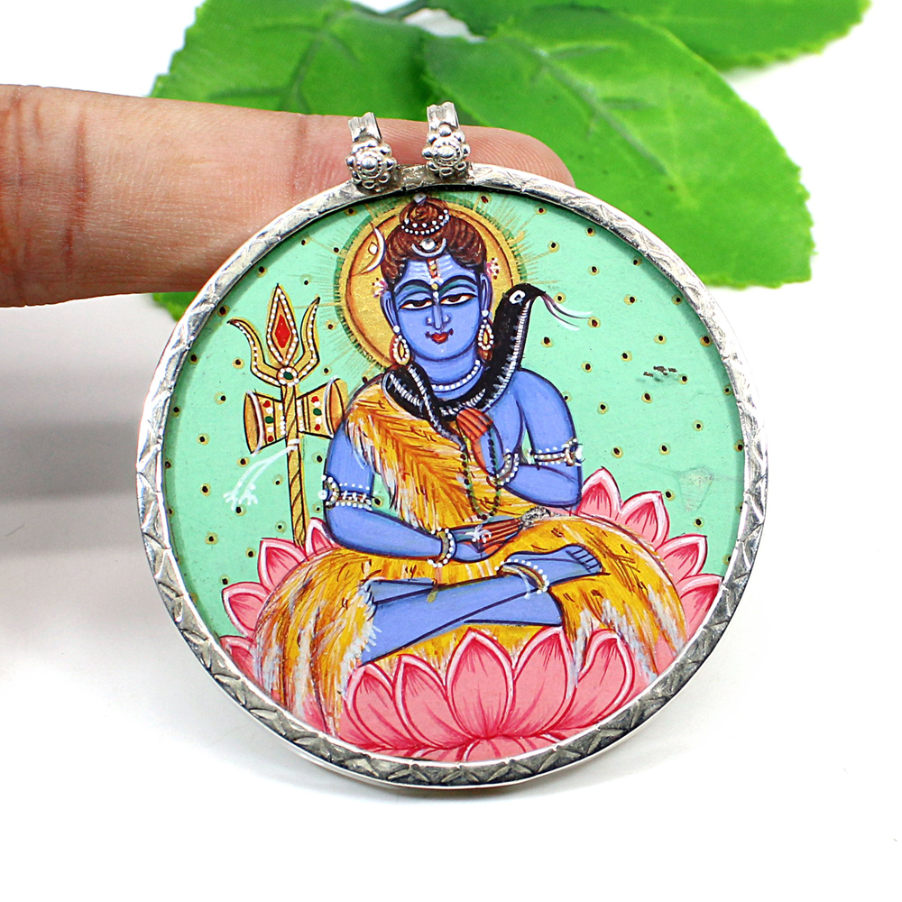 925 Sterling Silver Ethnic Lord Shiva Meditation God Hand Painted Pendant