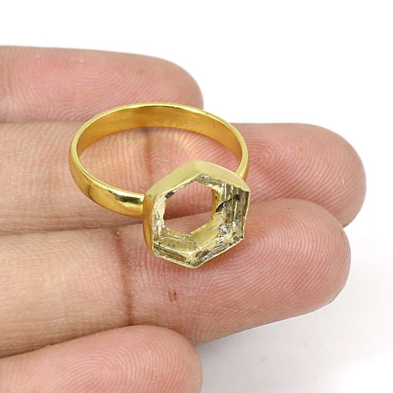 925 Sterling Silver Gold Plated Hexagon 10x10mm Blank Bezel Cup Ring Collet