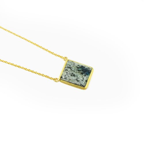 """925 Sterling Silver Handmade K2 Jasper Gold Plated 19"""" Chain Necklace"""