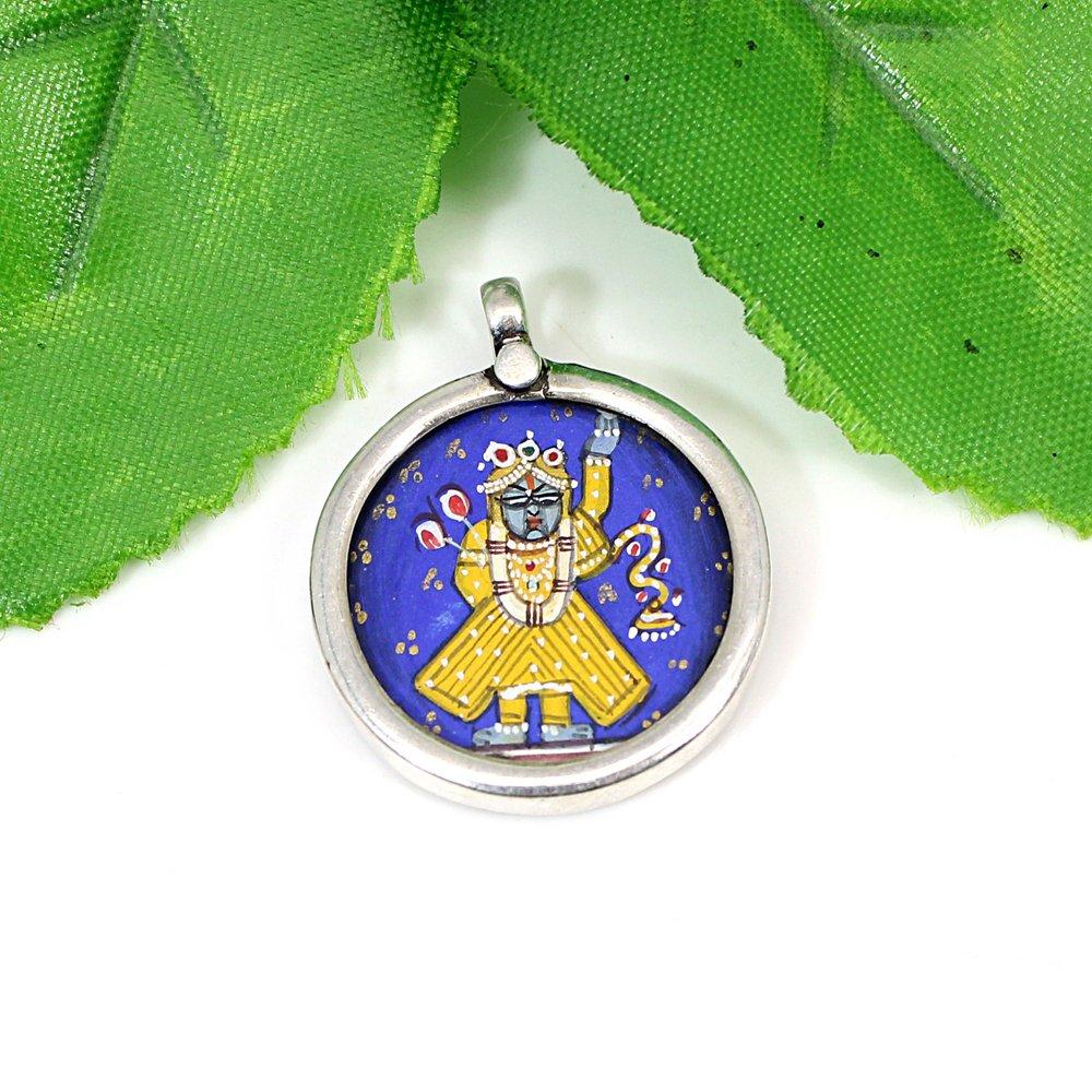 925 Sterling Silver Hindu Deity Shree Nath Ji Hand Painting Pendant