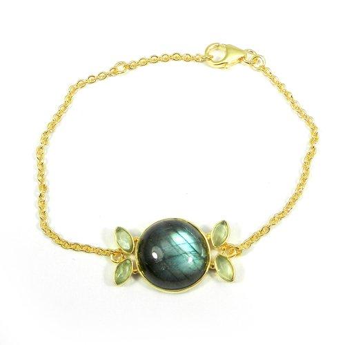 925 Sterling Silver Labradorite & Aqua Crackle Glass Gold Plated Bracelet