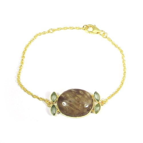"925 Sterling Silver Multi Gemstone Gold Plated Bezel Set 7.5"" Chain Bracelet"