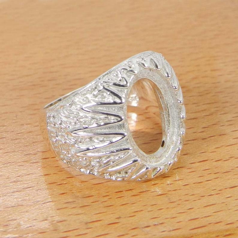 925 Sterling Silver Oval 14x10mm Stone Donello Designer Bezel Pre Notched Ring Collet