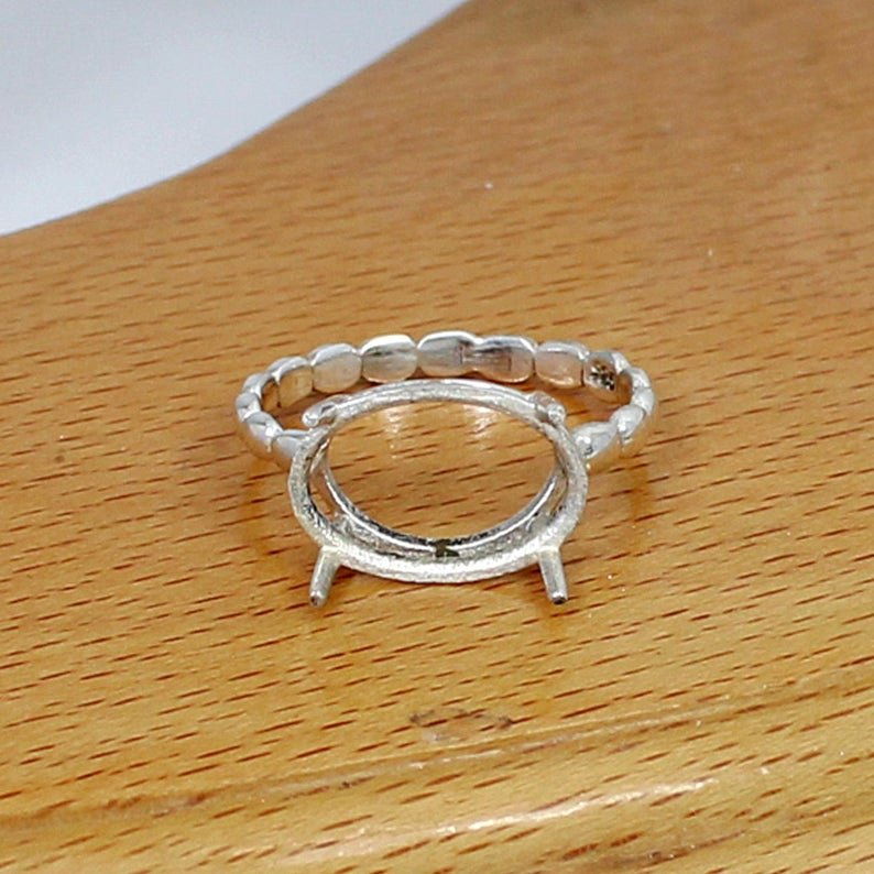 925 Sterling Silver Oval 14x10mm Stone Prong Set Blank Bases Ring Component