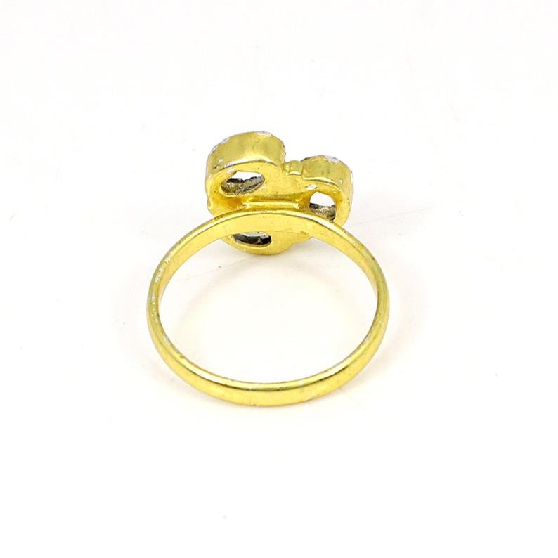 925 Sterling Silver Oval 5x3mm 3 Stone Blank Bezel Cup Gold Plated Ring Collet