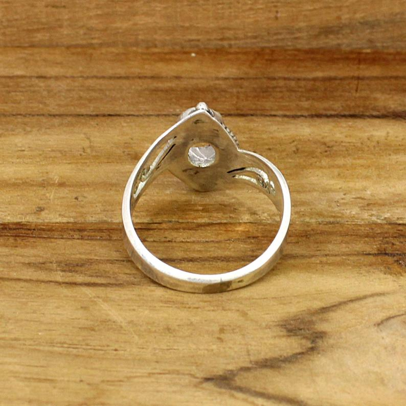 925 Sterling Silver Oval 7x5mm Stone Blank Bezel Cup Granulation Design Ring Collet