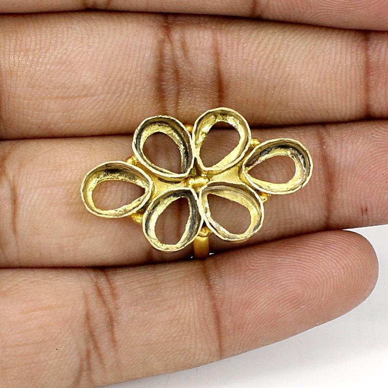 925 Sterling Silver Pear 8x6mm 6 Stone Blank Flower Designer Bezel Cup Ring Collet