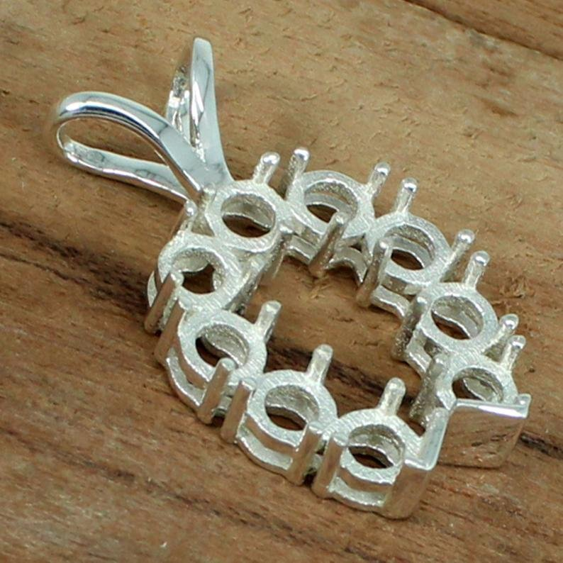 925 Sterling Silver Pendant 2.25mm 9 Stone Round Horseshoe Cluster Heart Prong Cup For Pendant Metal Casting For Pre Notched Setting