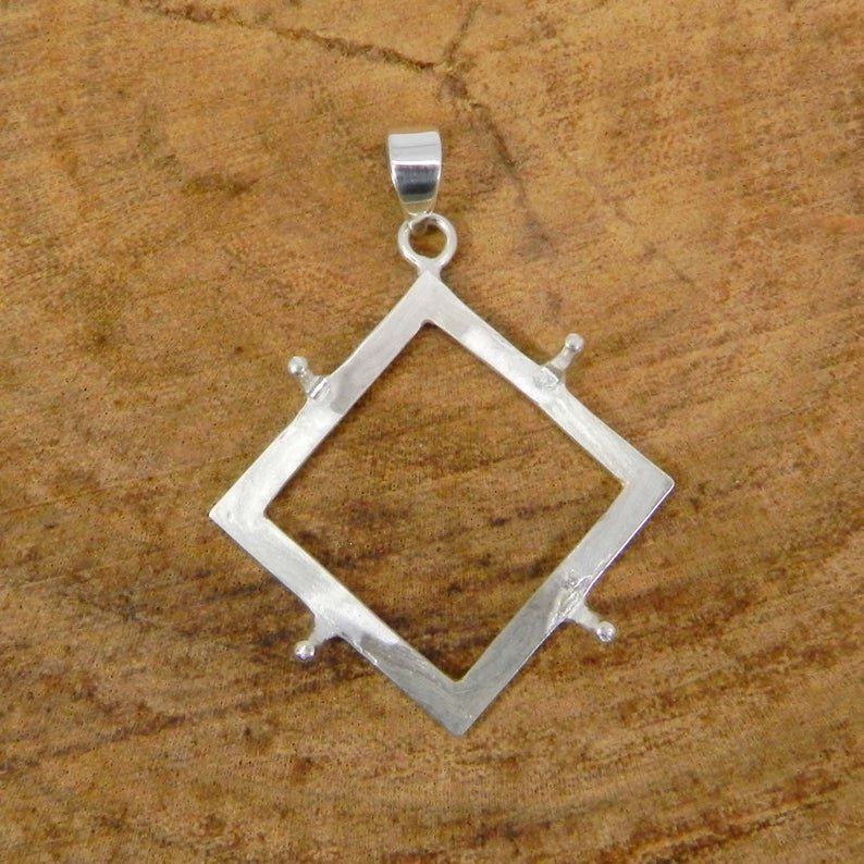 925 Sterling Silver Pendant Collet 3x3mm To 20x20mm Diamond Rose Cut Gemstone Prong Cup For Pendant Making Metal Casting For Setting