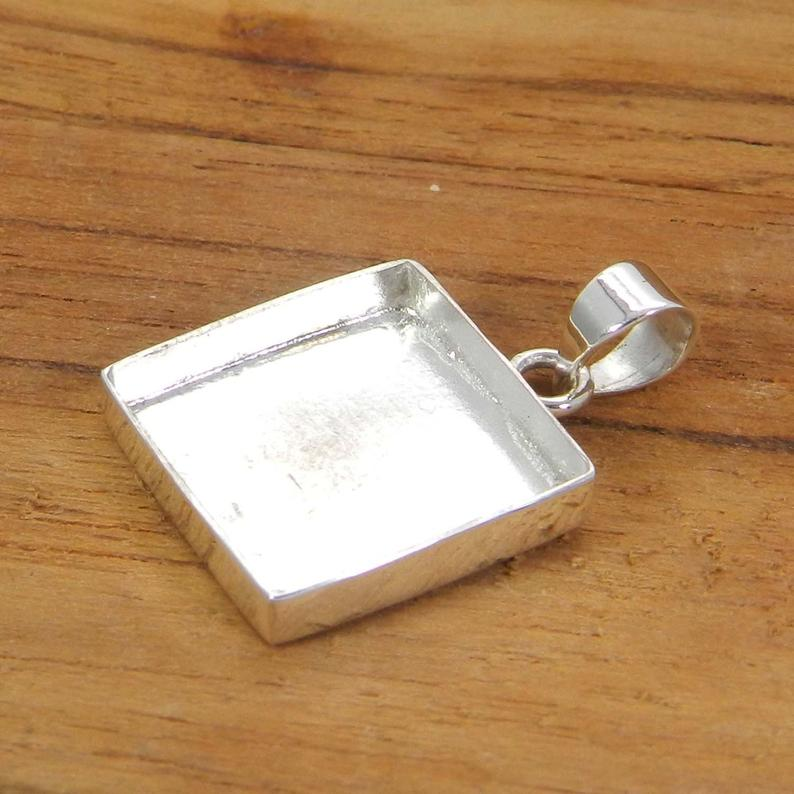 925 Sterling Silver Pendant Collet 3x3mm To 20x20mm Square Rose Cut Stone Close Bezel Cup For Pendant Making Metal Casting For Setting
