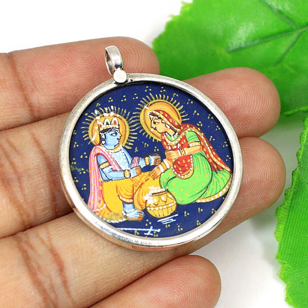 925 Sterling Silver Radha Krishna Hand Painting Simple Pendant