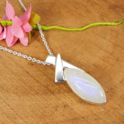 925 Sterling Silver Rainbow Moonstone 19 Inch Long Chain Necklace