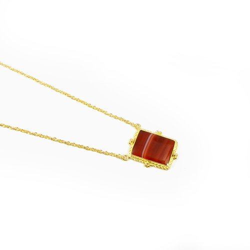 """925 Sterling Silver Red Sard Onyx Gold Plated 19"""" Chain Necklace"""