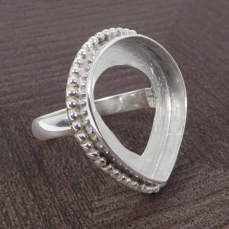 925 Sterling Silver Ring Collet 6x4mm To 18x13mm Pear Gemstone Bezel Cup For Ring Making Designer Metal Casting For Ring Setting