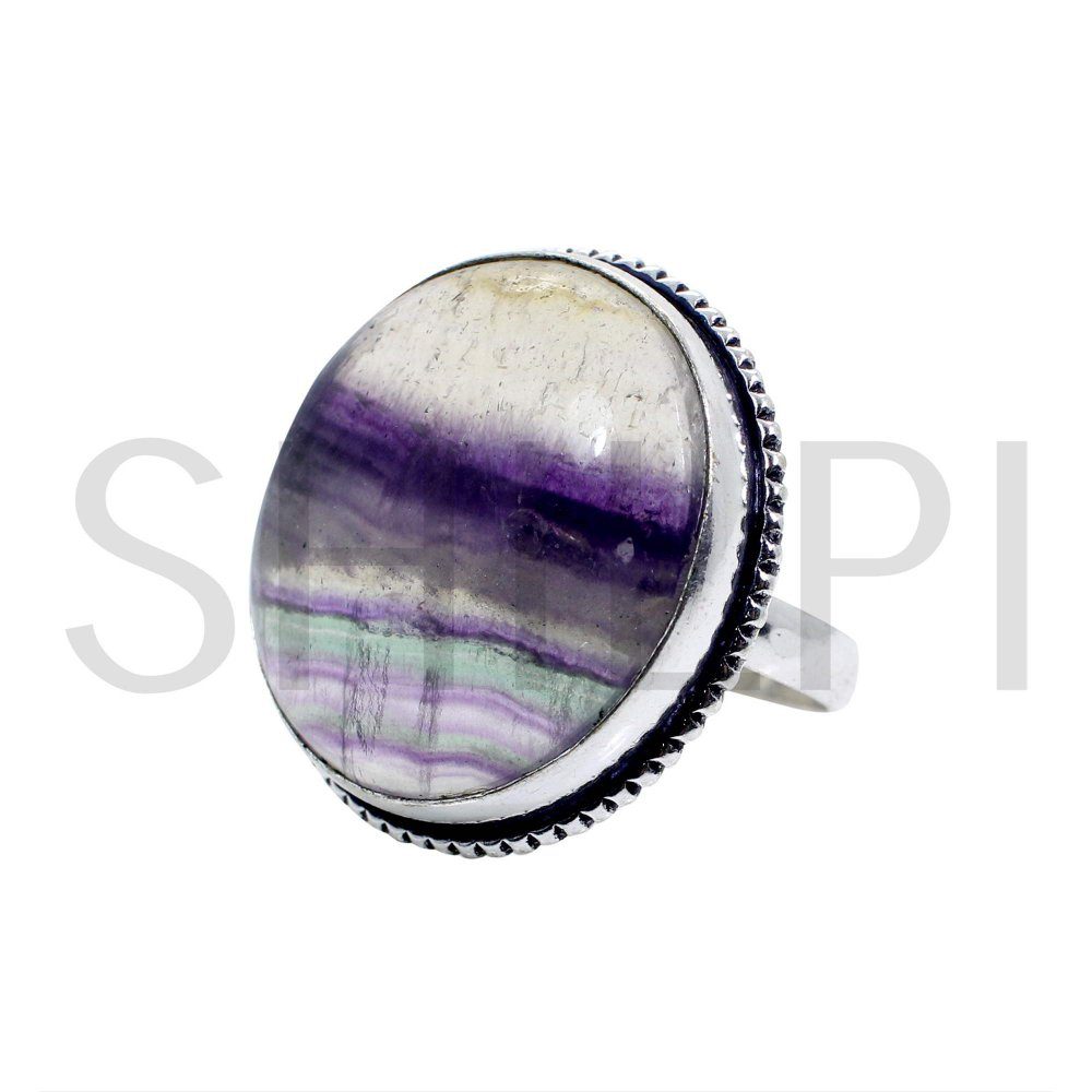 925 sterling Silver Rings With Natural Multi Fluorite