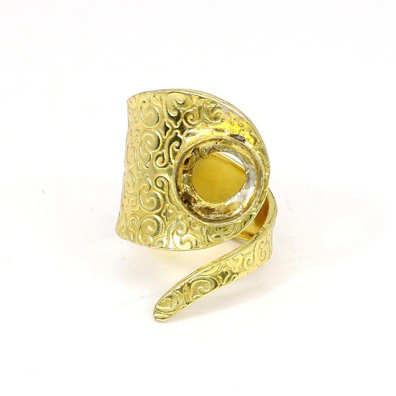 925 Sterling Silver Round 10mm Filigree Designer Blank Bases Adjustable Ring Collet