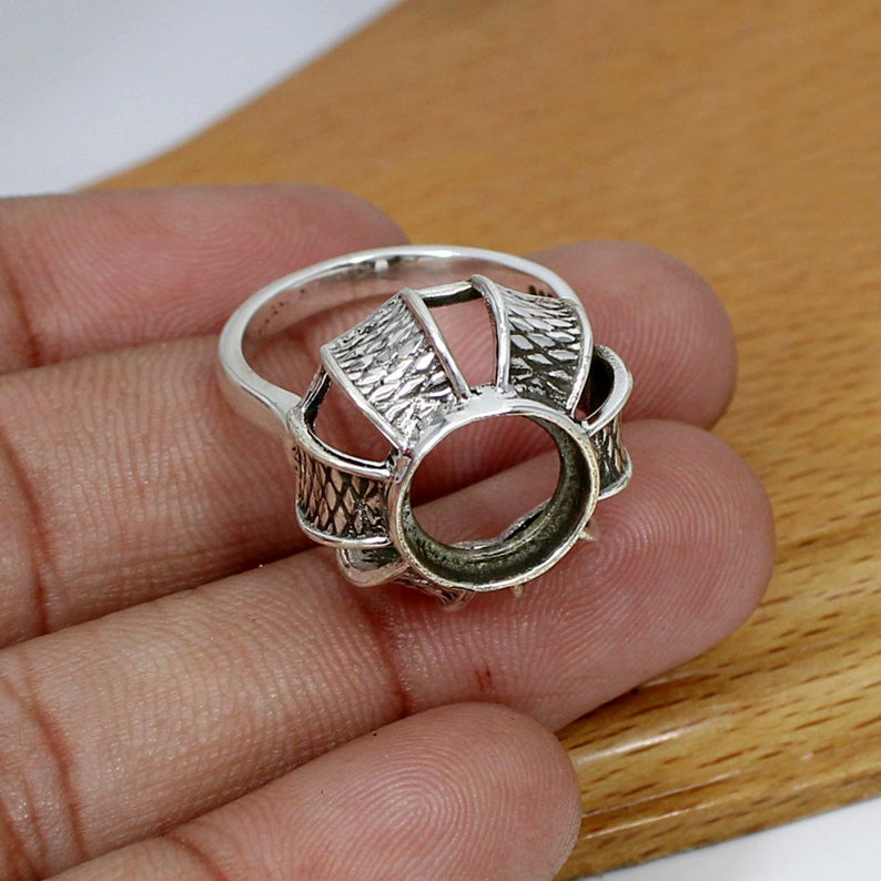 925 Sterling Silver Round 11mm Stone Blank Bezel Cup Designer Ring Collet