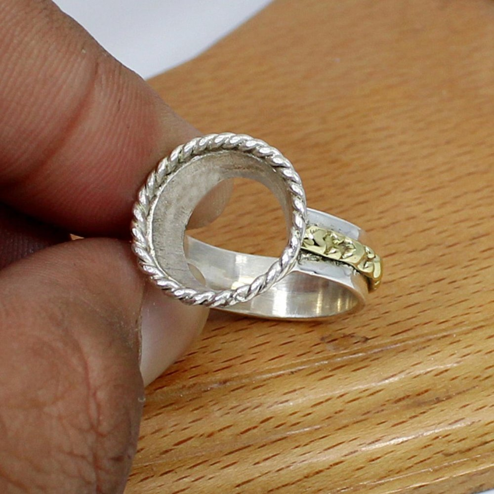 925 Sterling Silver Round 13mm Two Tone Blank Rope Designer Bezel Cup Ring Bases